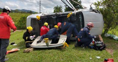 Capotamento deixa duas vítimas presas às ferragens, em Ilhota
