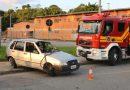 Colisão seguida de capotamento deixa homem ferido em Blumenau