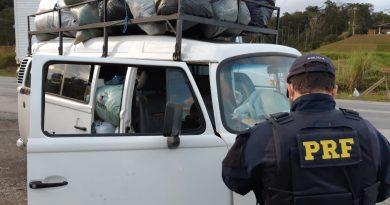 PRF flagra na 470, em Blumenau pessoas sendo transportadas em meio à carga